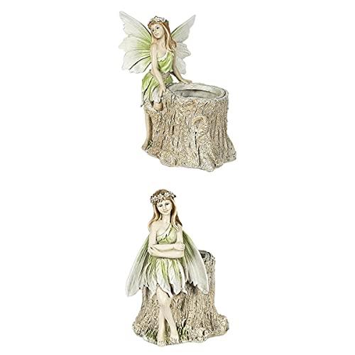 LOVIVER 2 Piezas de Figuras de Hadas, Accesorios para Jardineras, Decoración de Estatua de Colores Vibrantes