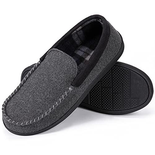 SoftPeds Chaussons en coton pour hommes style mocassin avec mousse à mémoire de forme grise,42 EU