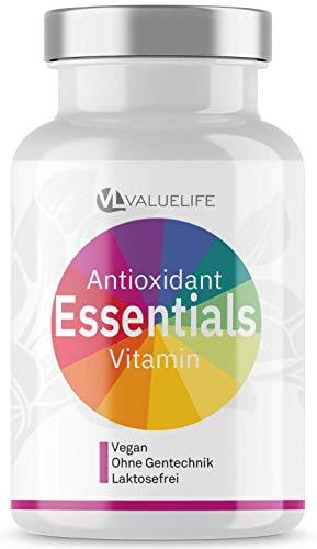 EINFÜHRUNGSPREIS Valuelife Antioxidant Essentials - Premium Vitalstoff Komplex - Superfruits, OPC, Transresveratrol, CoenzymQ10 & Astaxanthin - Wirkungs-Booster Citrusbioflavonoide - 80 Kapseln