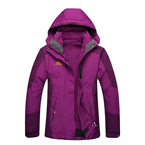 JIANYE 3 in 1 Jacke Herren Softshell Jacke Damen Wasserdicht Wanderjacke Atmungsaktiv Funktionsjacke Outdoor Skijacke Warm Doppeljacke Lila 2XL