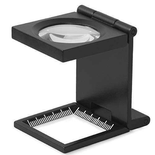 toolspire Fadenzähler Lp-8xf 8-fache Vergrösserung Metallausführung mit Glaslinse und Etui, Faltlupe, Klapplupe, Zoll- und mm-Skala