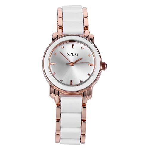VILLCASE Senhora Relógio de Pulso Moda Relógio Feminino Pulseira de Aço Inoxidável Relógio de Quartzo Diário Vestido Casual Joias da Moda para Mulheres Amantes Presente Namorada (Dourado)