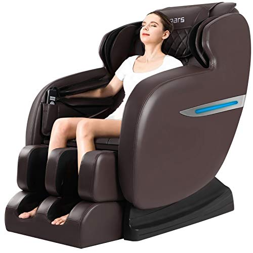 Massage Chair, 2021 Zero Gravity Massage Chair, Full Body Shiatsu Massage Recliner with Heat Function, Foot Roller, Led Light, LCD Wired Remote Control, Elastic Calves Section (Darkbrown)