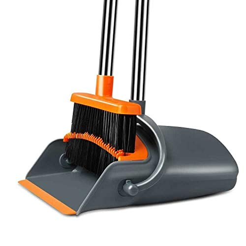 Chouqing Dust Pan and Broom, Self-Cleaning with Dustpan Teeth, Ideal for Dog Cat Pets Home Use, Super Long Handle Upright Stand Up Broom and Dustpan Set (Gray & Orange)