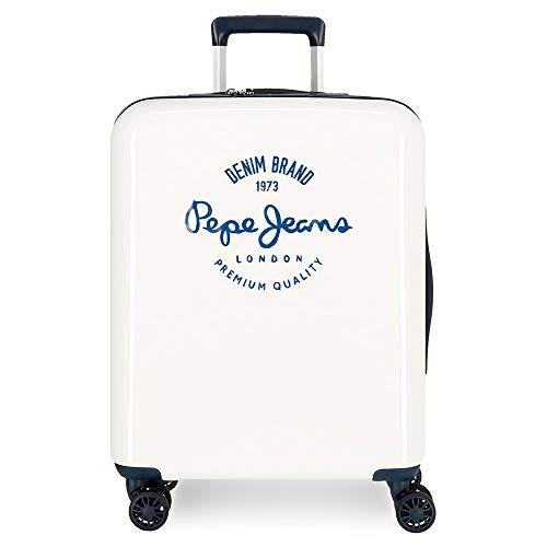 Pepe Jeans Nolan Maleta de Cabina Blanca 40x55x20 cms Rígida ABS Cierre TSA Integrado 38,4L 2 kgs 4 Ruedas Dobles Equipaje de Mano
