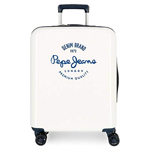 Pepe Jeans Nolan White Cabin Suitcase 40 x 55 x 20 cm ABS Rigid Closure TSA Integrated 38.4 L 2 kg 4 Wheels Double Hand Luggage