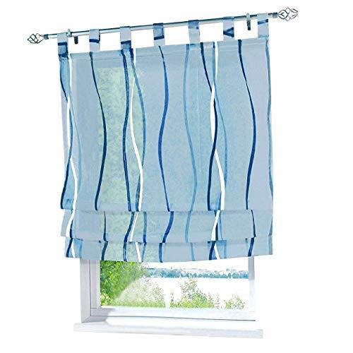 ESLIR Raffrollo mit Schlaufen Gardinen Küche Raffgardinen Modern Schlaufengardinen Vorhänge Transparent Voile Blau BxH 120x140cm 1 Stück