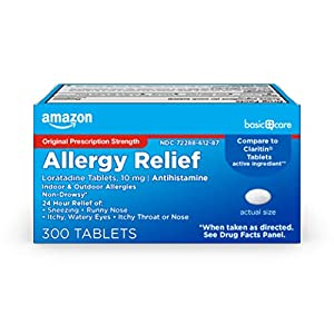 Amazon Basic Care Allergy Relief Loratadine Tablets 10 mg, Antihistamine, Allergy Medicine for 24 Hour Allergy Relief, 300 Count