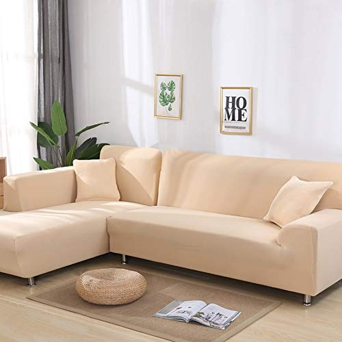 RONGER Solid Color Corner Sofa Covers for Living Room Elastic Spandex Slipcovers Couch Cover Stretch Sofa Towel L Shape (Color 9,4-seat 235-300cm 1pc)