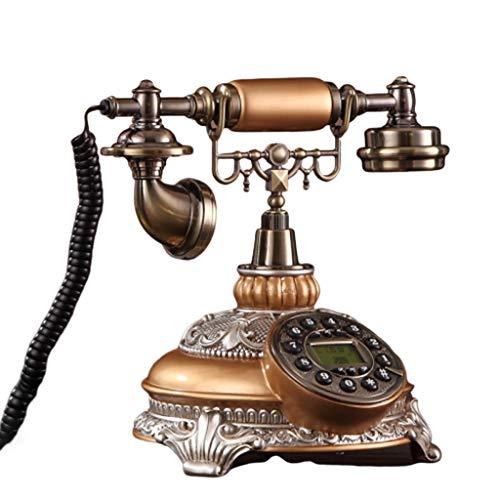Qazxsw Festnetztelefon,Antike Europäische Telefon Retro- Art Und Weise Kreative Hauptfestnetz American Rural Büroweinlese-Telefon,Messing,25 * 23 * 26cm