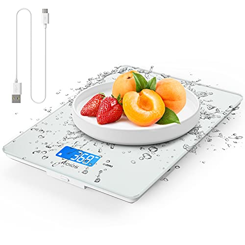 KOIOS Kitchen Scale, 11lb Digital Food Scale Weight Grams and oz (USB Rechargeable), 0.04oz/1g Precise Graduation for Cooking Baking, 6 Weight Units, Easy Clean Waterproof Tempered Glass, White