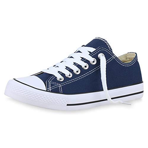 SCARPE VITA Damen Sneaker Low Basic Turnschuhe Schnürer Freizeit Schuhe Canvas Stoff Schnürschuhe 175232 Dunkelblau Blau 36
