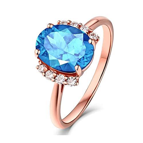 AYDOME Promise Ring for Girlfriend, 2.74ct Topaz Oval Diamond 18K Rose Gold Blue Women Size O 1/2