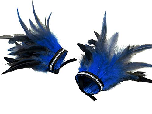 L'vow Women' Gothic Feather Ankle Cuffs Foot Anklet Bracelet for Wedding Halloween Party (Royal Blue)