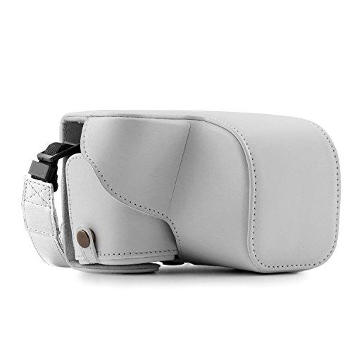 MegaGear MG864 Sony Alpha A6300, A6000 (16-50 mm) Estuche Ever Ready, Funda de cuero, de pronto uso, con correa - Blanco