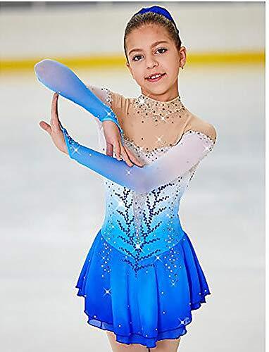 LWQ Eiskunstlauf-Kleid-Frauen-Mädchen Eislaufen Kleid Pale Blue Halo Färben Spandex hohe Elastizität-Wettbewerb Skating tragen Handmade,10