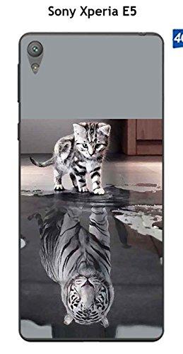 Onozo Coque Sony Xperia E5 Design Chat Tigre Blanc