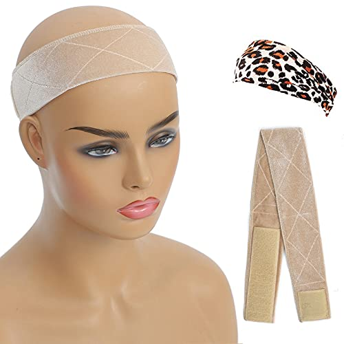 Aksice Wig Grip Band, Wig Bands for Keeping Wigs in Place, Adjustable Wig Grip Headbands for Women, with 1 Headband & 2 Pcs Wig Cap (Beige)