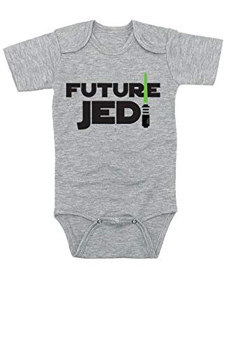 TeeNow - Star Wars Inspired Funny Baby Infant Onesies / Bodysuits - Boy / Girl (3-6 Months, Grey Future Jedi)