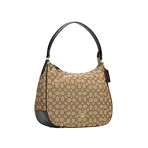 "Coach Signature coated canvas with smooth leather details Inside zip pocket, Handle with 8 1/4"" drop Zip-top closure, fabric lining Color: Khaki / Saddle 2 / Gold Tone Hardware 13"" (L) x 10 3/4"" (H) x 3 3/4"" (W)"