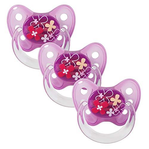 Dentistar® Latex Schnuller 3er Set - Baby Nuckel Größe 3 - ab 14 Monate - Naturkautschuk Beruhigungssauger für Babys und Kleinkinder - zahnfreundlich - Made in Germany - BPA frei - Blumen Lila