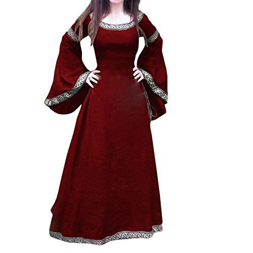 Longra Damen Vintage Retro Mittelalter Kleid Renaissance Cosplay Kostüm Langarm Prinzessin Gothic Kleid Lange Abendkleid Cocktailkleid Maxikleid für Weihnachts Karneval Festlich Party (2XL, Rot)