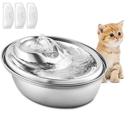 PUPPY KITTY 2 L Fuente para Gatos de Acero Inoxidable,Bebedero Gatos Automático, Silencioso, Fuente Agua para Gatos y Perros con 3 Filtros Fuente Gatos y 2 Tapones de Silicona