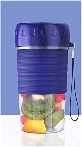 ZHZHUANG Batidora portátil, 300 ml 4 cuchillas USB recargable jugo licuadora eléctrica para frutas batidos de leche, multifuncional hogar pequeña taza exprimidor de mano, azul