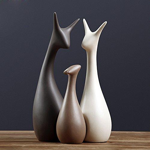 DecentGadget 3 Pezzi Ceramica Cervo Porcellana Cervo Famiglia Moderna Ornamenti Regalo di Nozze Decorazione Casa (Famiglia Tre Cervi)