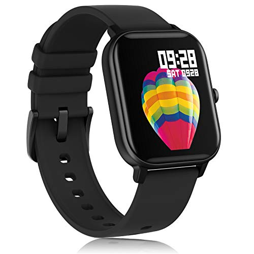 AMATAGE Smart Watch for Android Phones iPhone for Men Women, Fitness Tracker Watch with Heart Rate Oxyhemoglobin Saturation Monitor, Waterproof Activity Tracker with Sleep Monitor(Black)