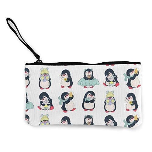 Yuanmeiju Lindo pingüino en Bufanda Lindo Lienzo Cambio Moneda Billetera Bolsa Bolsa Cremallera Titular Monedero Correa de muñeca Maquillaje Estuche de lápices Personalizado