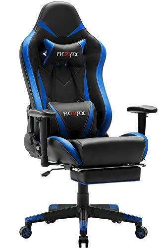 Ficmax Silla ergonómica para juegos Silla para computadora con masaje de soporte lumbar, sillas de juego para E-sports para jugador, silla de oficina con reposapiés y para reposacabezas (negro&azul)