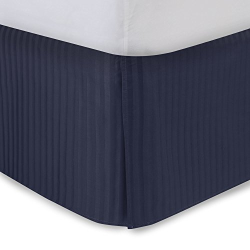 Navy Bed Skirt King Bed Skirt 14 Inch Drop, Tailored/Pleated Striped Bedskirt, Dust Ruffle with Split Corners and Platform, Solid Poly/Cotton 300TC Fabric Blue