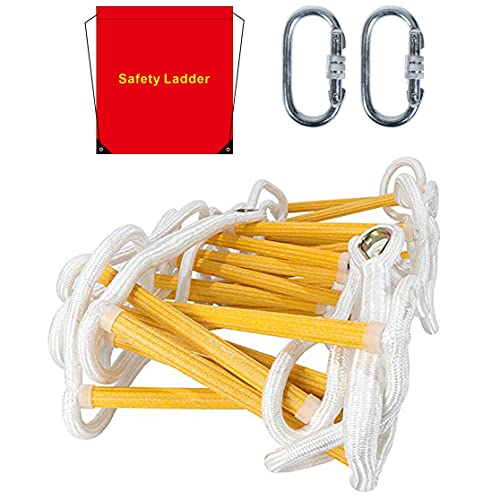 Emergency Fire Escape Ladder Flame Resistant Safety Rope Ladder with Hooks Fast to Deploy & Easy to Use Compact & Easy to Store Withstand Weight up to 900 pounds (4 Story 32FT)