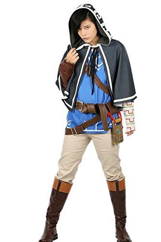 Xcoser Herren Cosplay Link Kostüm Deluxe Outfit mit Zubehör Erwachsene Verrückte Kleidung Anzug für Halloween Party