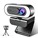 1080P Webcam Ringlicht, NIYPS Full HD Web Camera mit Mikrofon für PC/Laptop, Streaming Cam mit Abdeckung und Stativ, USB Kamera für Skype, Video Chat und Aufnahme, Kompatibel mit Windows, Mac, Android
