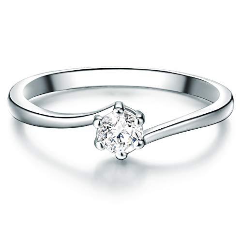 Tresor 1934 Damen-Ring Verlobungsring Sterling Silber mit Zirkonia weiß in Brilliant-Schliff - Solitär-Ring mit Stein Trauring für Hochzeit