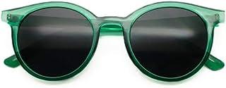 NIFG - Gafas de sol translúcidas verdes retras anti-ULTRAVIOLETA de las gafas de sol redondas de la moda