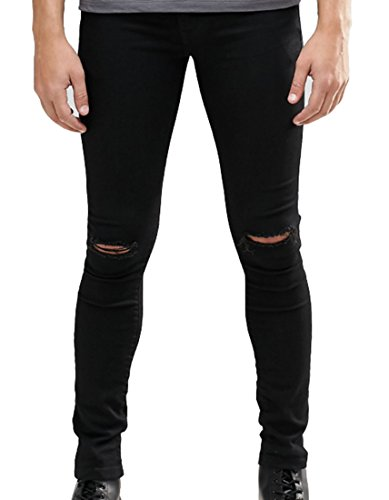 Men's Skinny Fit Knees Slit Ripped Jeans Stretch Slim Denim Pants Black 32
