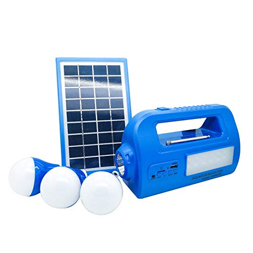 Portable Solar DC Outdoor Camping Light, Solar Powered Rechargeable LED Flashlight, Best for Fishing Boating Hiking Backpack Camping Safety Weather Emergency Pack,Blue