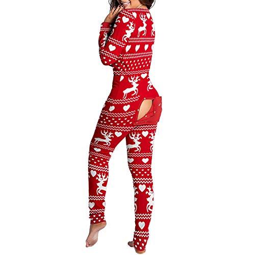 Pijama de Mujer Onesie para Mujer Mono de una Pieza Pijama Funcional con Solapa Abotonada para Mujer, Pijama Suave y cálido para el hogar con Botones