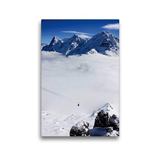 CALVENDO Lienzo Premium de 30 cm x 45 cm de Alto, diseño de Monje y Virgen en Bastidor, Imagen Lista sobre Lienzo auténtico, impresión en Lienzo: aparece de Las Nubes Natural, Natural