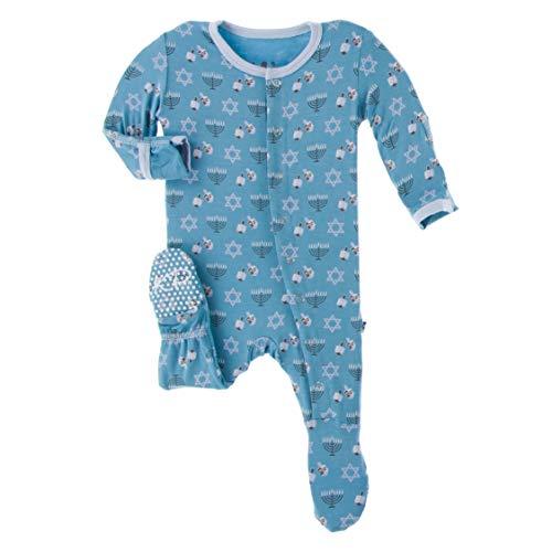Kickee Pants Print Footie with Snaps, Stylish Jammies, Onesie Boy or Girl Baby Clothes, Super Comfortable Sleepwear for Babies (Blue Moon Hanukkah - 3-6 Months)