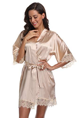 Original Kimono Women's Lace-Trimmed Satin Short Kimono Robe Bathrobe Loungewear Champagne S
