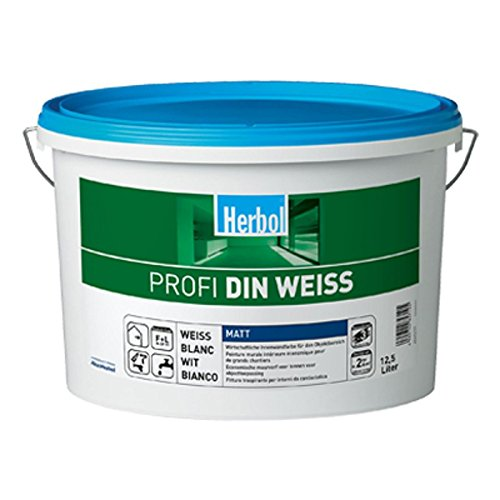 2 x Herbol Wandfarbe Profi DIN-WEISS 12,5 Liter