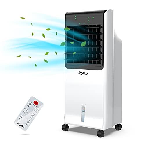 Mobiles Klimagerät, Verdunstungs-Luftkühler mit Eisbox, Luftbefeuchtung und Luftreinigung, 800m³/h, 8H-Timer und Fernbedienung, ultra-leiser Ventilator mit Wasserkühlung für das ganze Heim und Büro