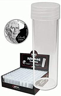 COIN STORAGE TUBES, round clear plastic w/ screw on tops for NICKELS (Quantity of 25 tubes)