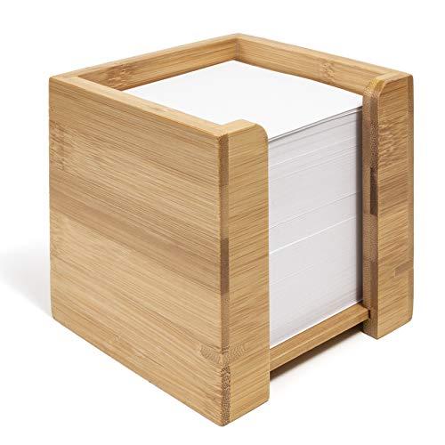woodluv - Dispensador de Notas de bambú con Bloc de Notas de Papel Cuadrado, 10,5 x 10,5 x 10,5 cm (Papel Incluido)