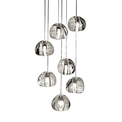 LED Modern Pendelleuchte K9 Kristall Kugel Design Kronleuchter Höhenverstellbar Esstisch Hängeleuchte Innen Dekorative Hängelampe Esszimmer Wohnzimmer Schlafzimmer Treppe Pendellampe G4, 7-flammig