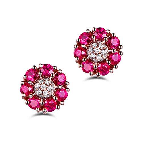 Beydodo Pendientes Oro Rosa Mujer,Pendientes Oro Rosa 18k Flor con Diamante y Rubí Rojo